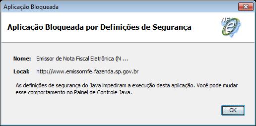 Aplicação bloqueada por definições de segurança - Java