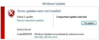 Erro Windows Update 80070570 Windows 7