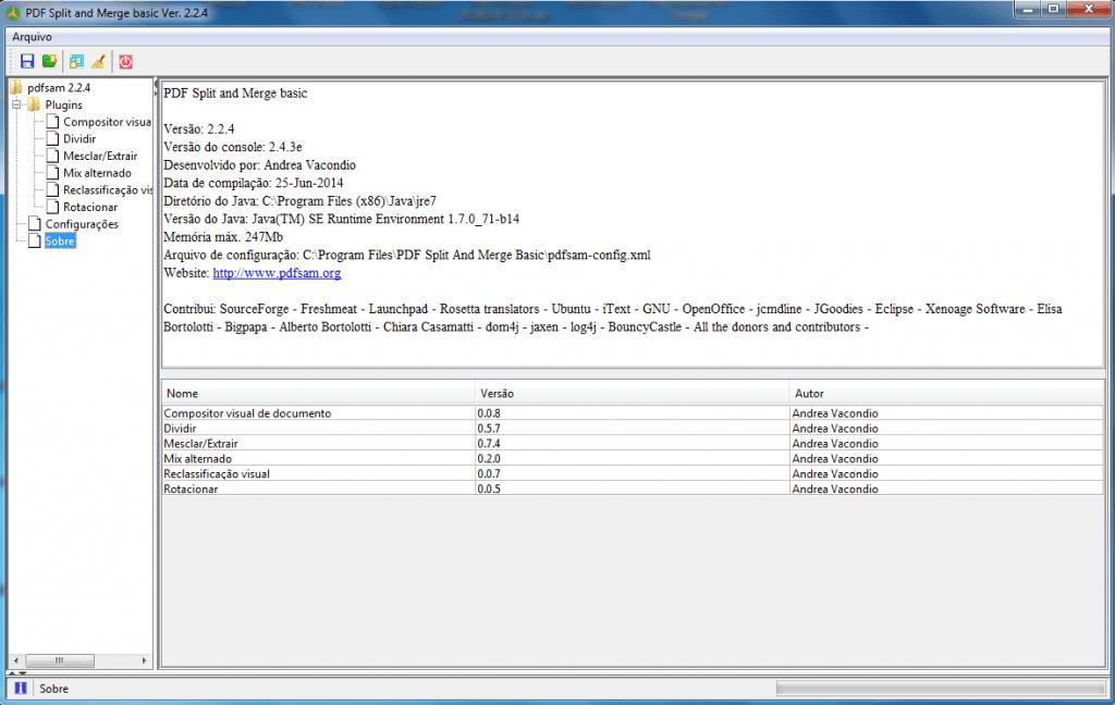 PDF Split and Merge - Tela inicial