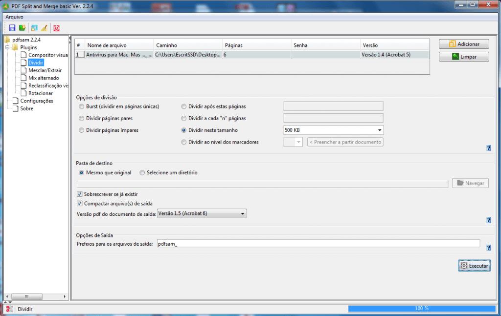 PDF - Selecionar diretório e arquivo de destino