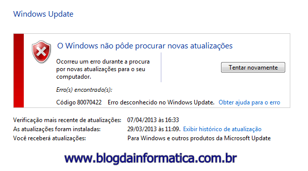 Windows Update 80070422