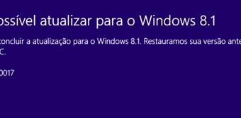 Não foi possivel atualizar para o Windows 8.1 - 0xC1900101 0x20040017