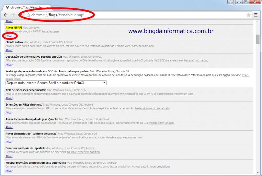 Google Chrome não consegue usar plugin do java - Habilitando NPAPI