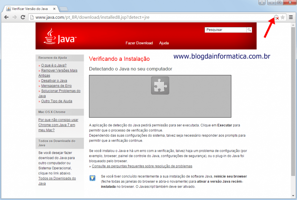 Google Chrome - Plugin Java - Verificação do plug-in