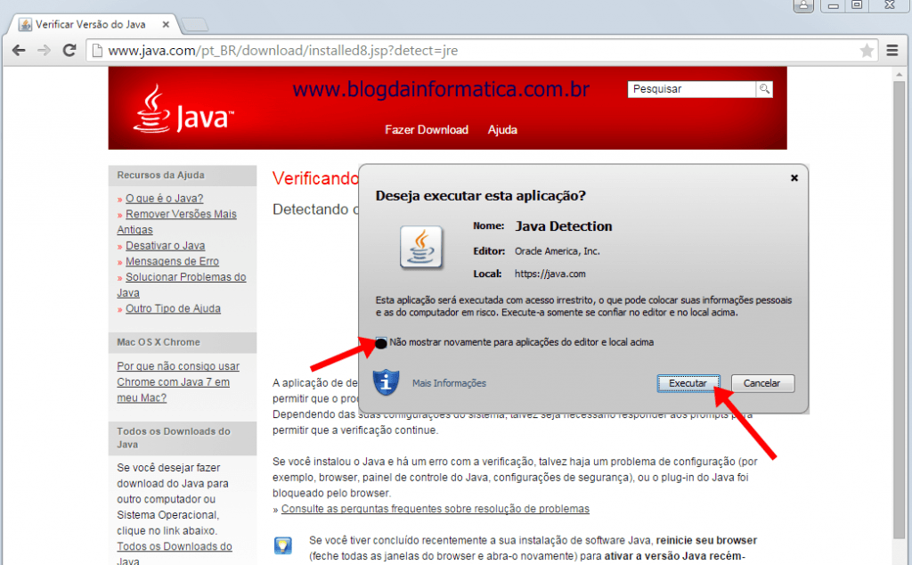 Google Chrome - Plugin Java - Executando a aplicação