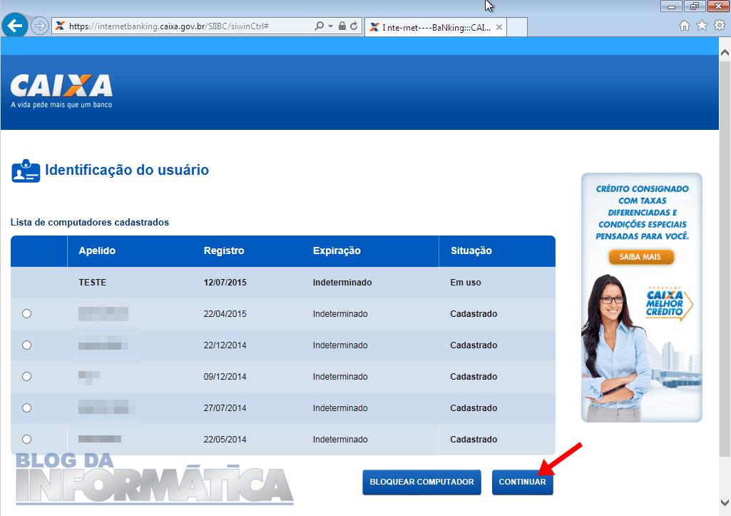 Lista de computadores cadastrados no Internet Banking