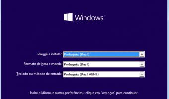 Windows 10 - Seleção de idioma, moeda e teclado