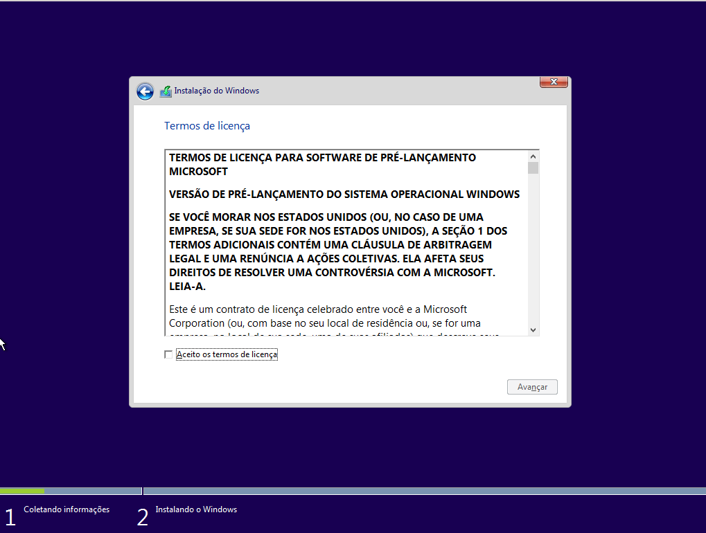 Windows 10 - Licença de pré-lançamento