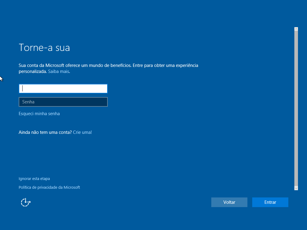 Windows 10 - Conta microsoft