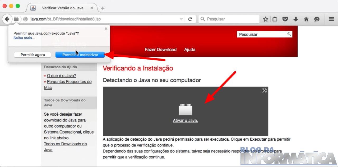 Ativando o Java no Browser