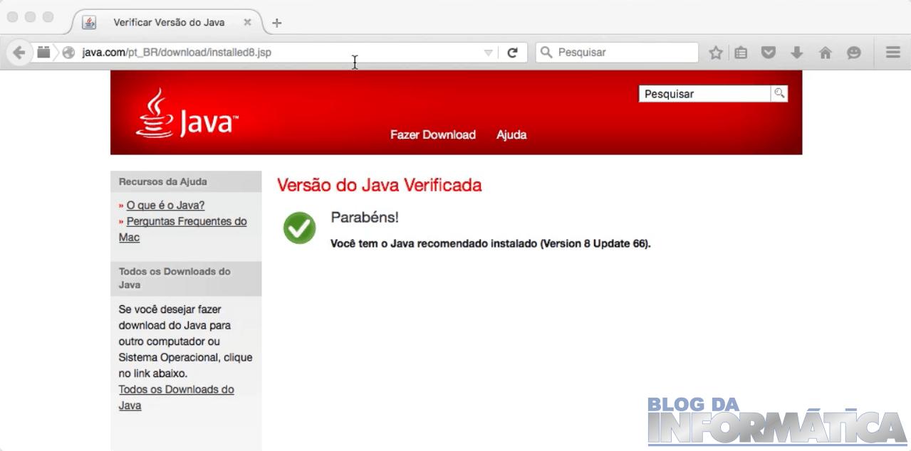 Java Instalado e Atualizado