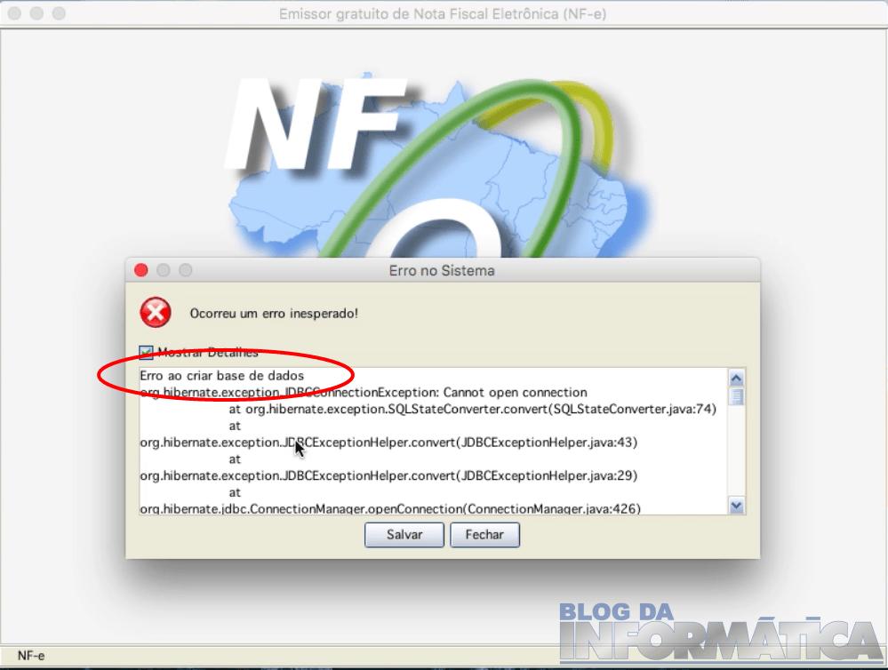Emissor NFe - Detalhes do erro inesperado