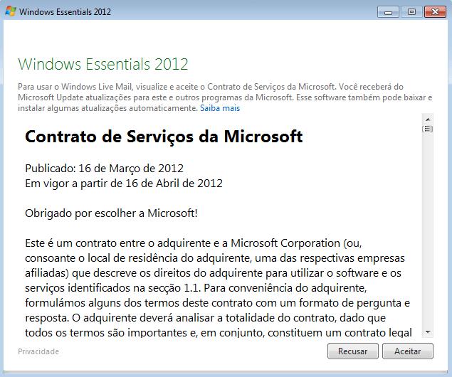Iniciando o Windows Live Mail pela primeira vez