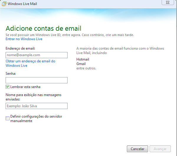Configuração inicial do Windows Live Mail