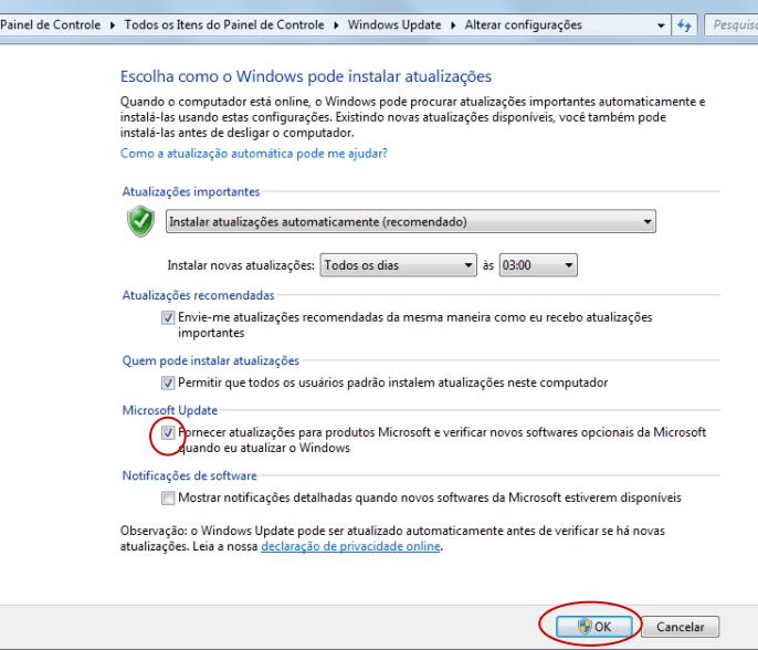 Desativar Microsoft Update