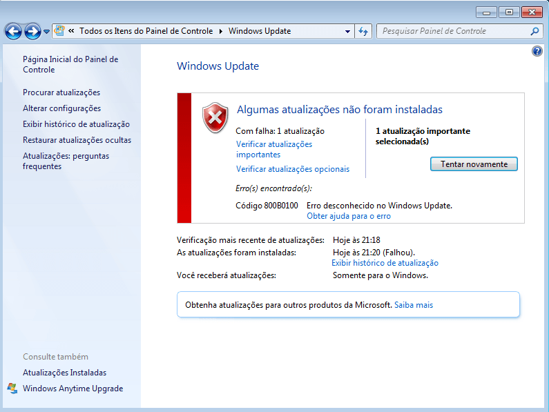 Windows Update Erro 800B0100