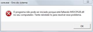 Erro ao iniciar – Core.exe – Faltando MSVCP120.DLL