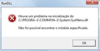 Houve um problema na inicialização do C:\Progra~1\common~1\System\Sysmenu.dll