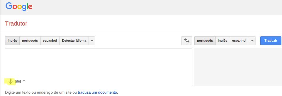 Google Tradutor - Falar o texto