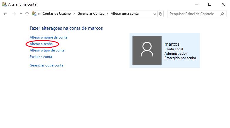 Alterar senha da conta de usuário