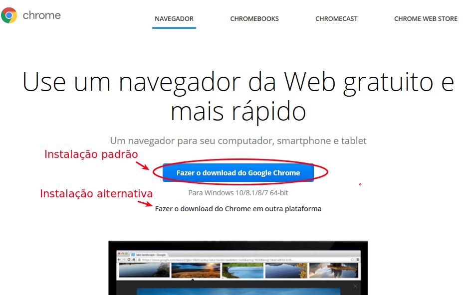 Chrome - Instalar da página oficial