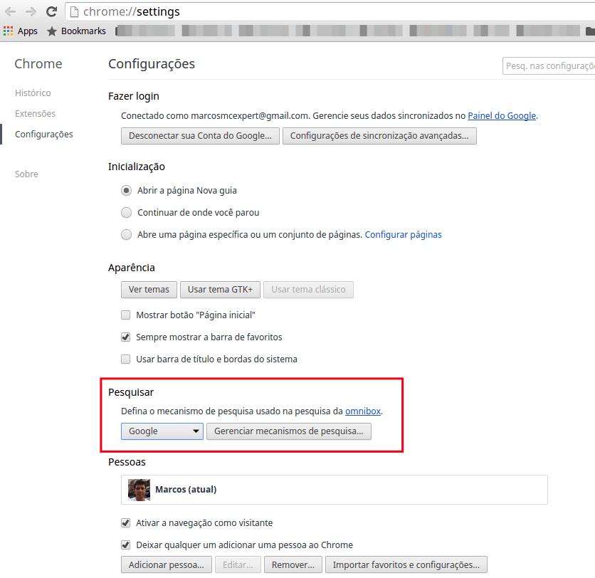 Chrome - Mecanismo de pesquisa