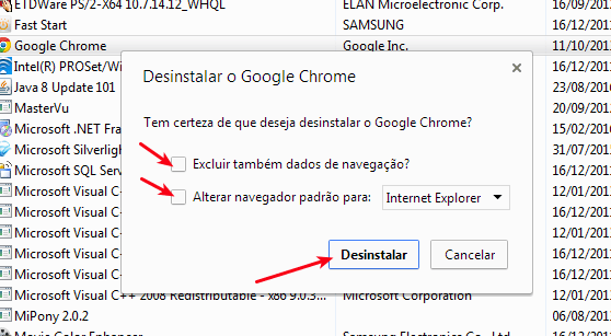 Confirmar desinstalação do Google Chrome