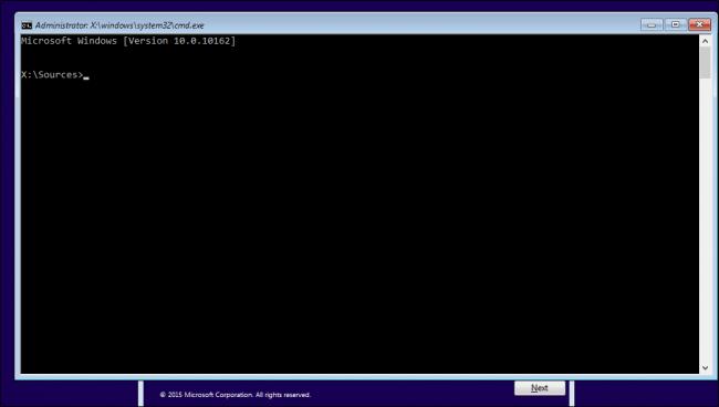 Windows 10 - Prompt de comando na tela de instalacao