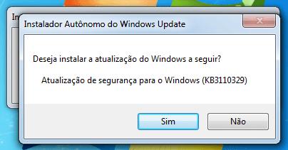 Instalando o KB3110329 manualmente