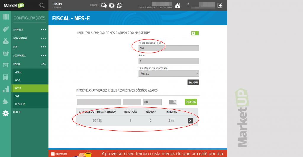 Marketup - Configuracao NFS-e