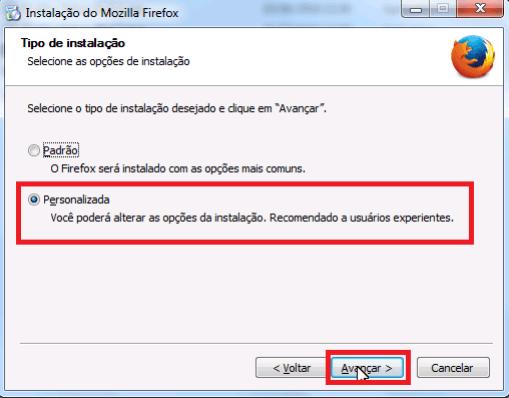 Firefox 41 - Instalação personalizada