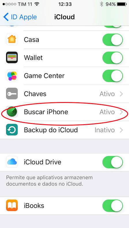 Desativar buscar iPhone