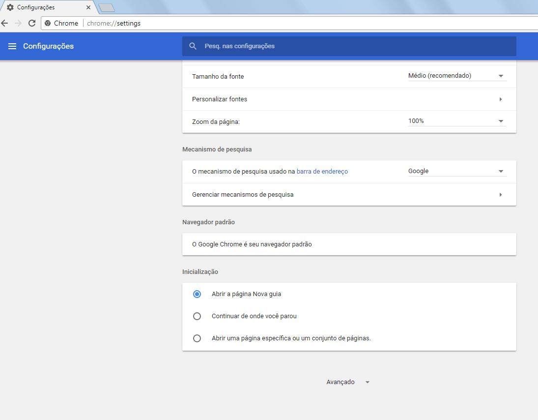 Chrome 59 - Configurações básicas - 2