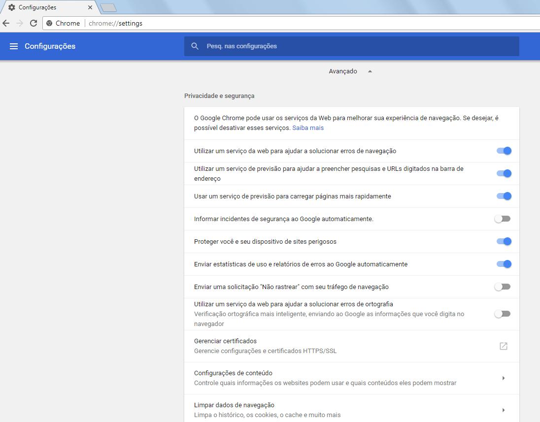 Chrome 59 - Configurações avançadas - 1