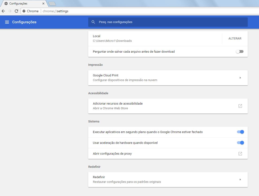 Chrome 59 - Configurações avançadas - 3