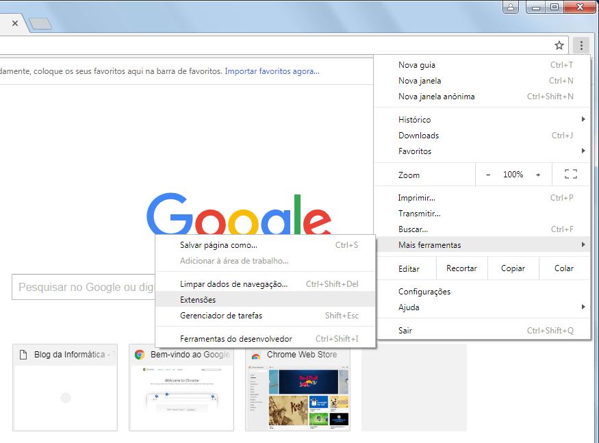 Chrome 59 - Menu de extensões
