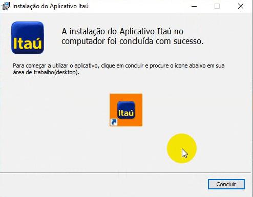 Finalizar instalação do Aplicativo Itaú
