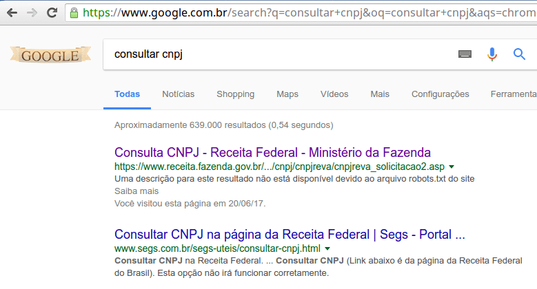 Consulta no Google - Consulta cnpj
