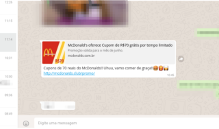 Golpe de WhatsApp promete Cupons de 70 reais no McDonald's
