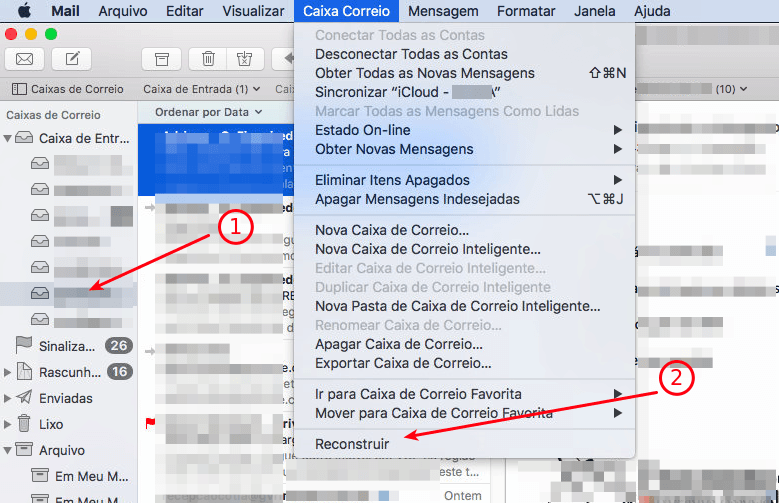 Mail do Mac Os X - Reconstruir caixa de correio