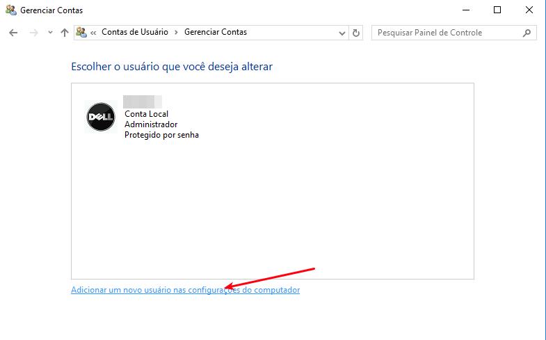 Adicionar nova conta de usuário