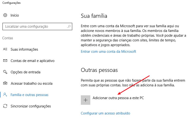 Interface Windows 10 - Criar conta de usuário