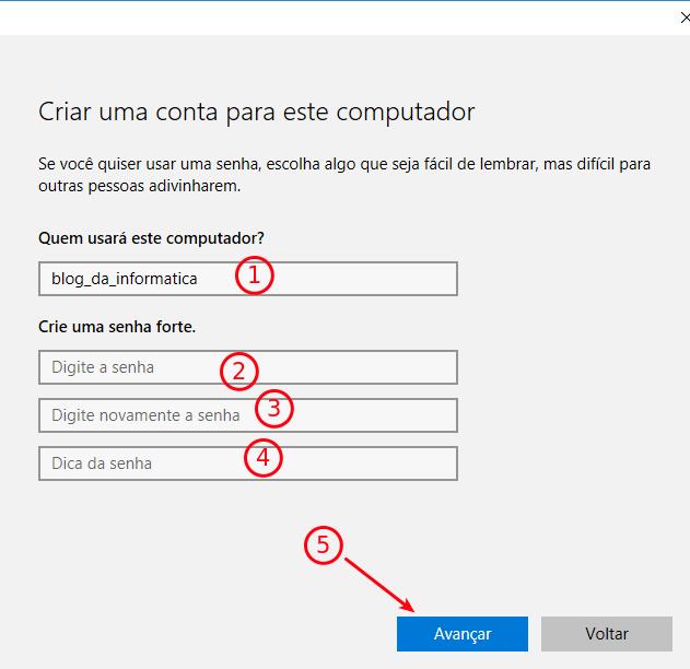 Interface Windows 10 - Dados de uma conta local