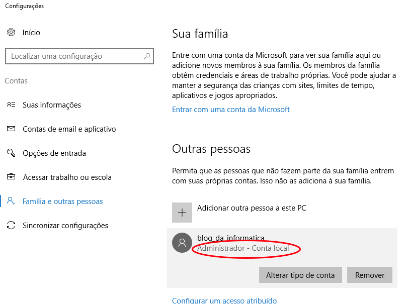 Interface Windows 10 - Tipo de uma conta local