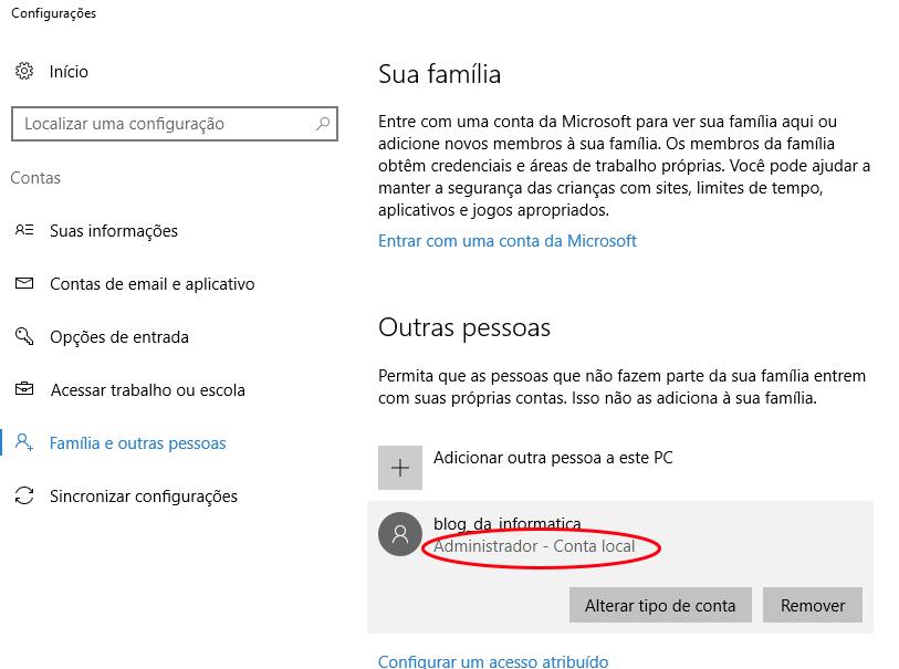 Interface Windows 10 - Tipo de uma conta local