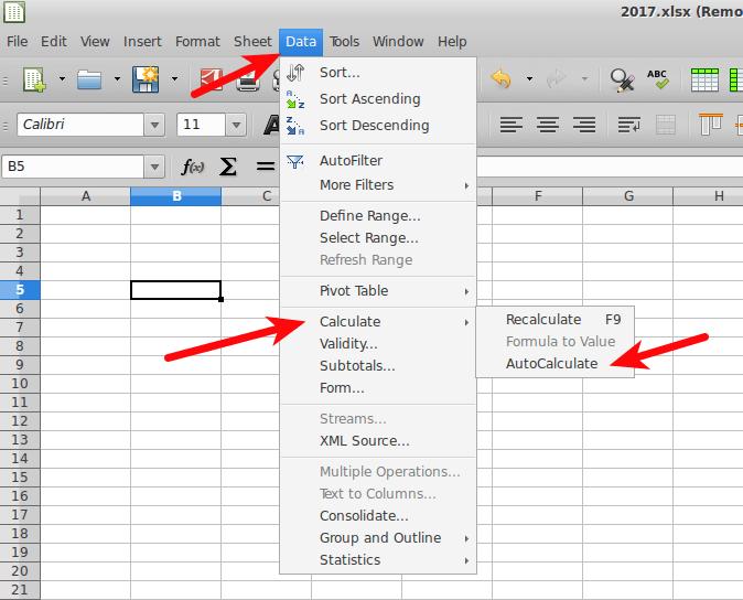 LibreOffice Calc - Recalcular automaticamente