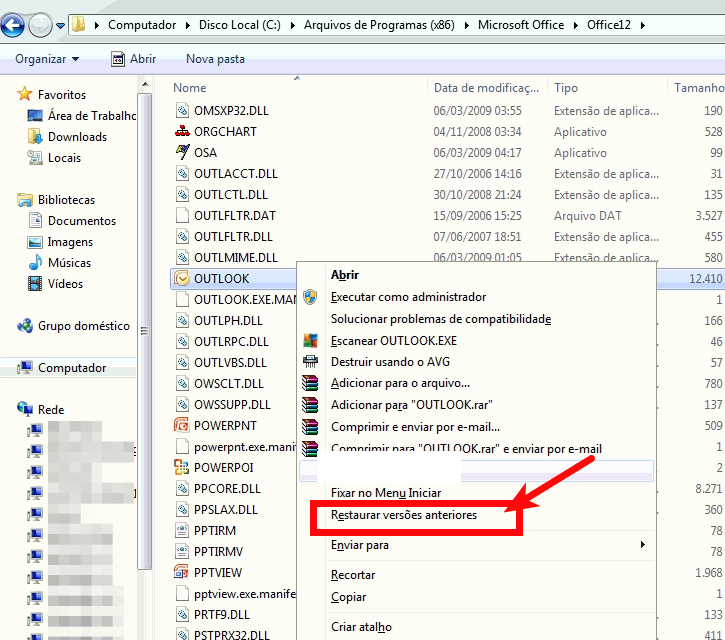 Restaurando versões anteriores - Outlook.exe