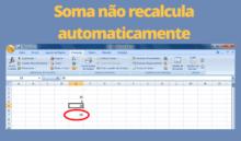 Função Soma do Excel não calcula automaticamente