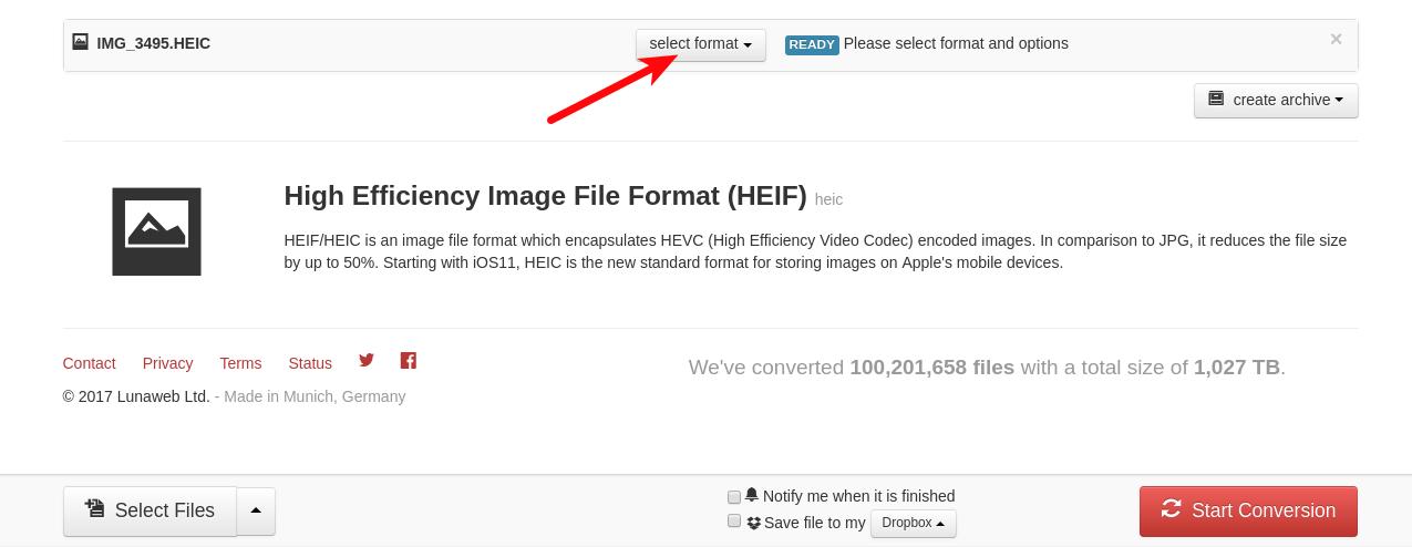 cloudconvert.com - Selecionar JPG