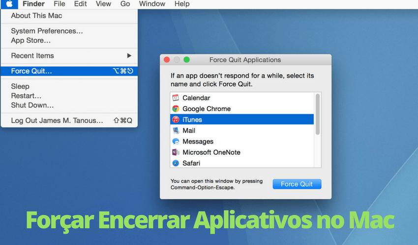 Forçar encerrar aplicativo no Mac